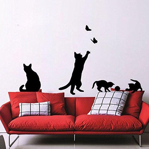 Charmant Creative Black Cat Wall Stickers Cat Playing Cartoon Wallpaper Kids Room  Kindergarten Classroom StickersSize:36cmx42cm BY DZY Wall Stickers Wall  Decal Wall ...