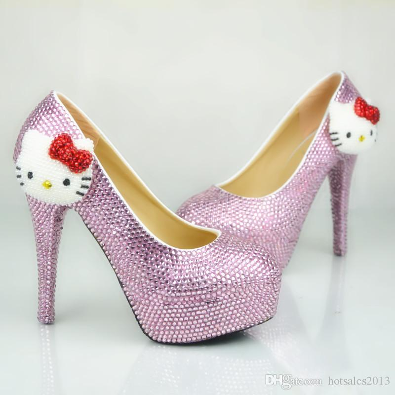 2017 Lindo Strass Sapatos De Casamento Rosa de Cristal Rodada Toe Vestido de Noiva Sapatos Cabeça Gatinho Saltos de Plataforma Cinderella Prom Bombas