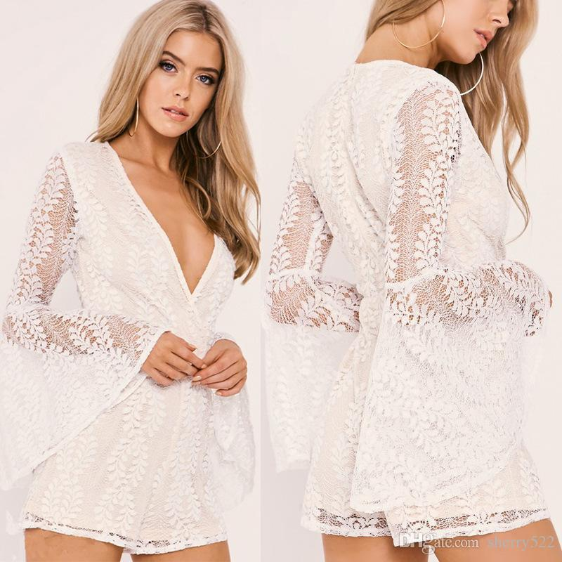 2dce295d28 2019 Womens Rompers 2017 Autumn Lace See Through Elegant Woman Jumpsuit  Bodysuit Transparent Long Flare Sleeve Playsuit Women Deep V Neck Overall  From ...