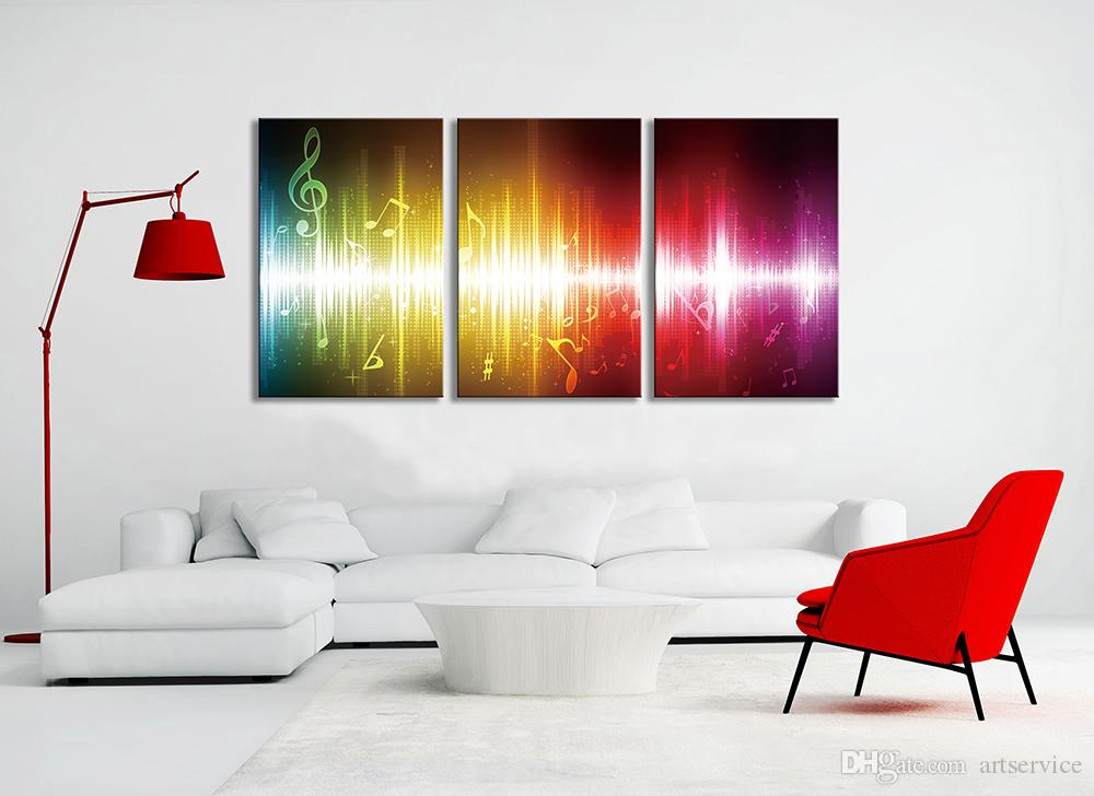 3 Panels Music Abstract Pop Picture Decor Wall Art Picture Digital Art Print Canvas Printed Picture for Living Room Dropship