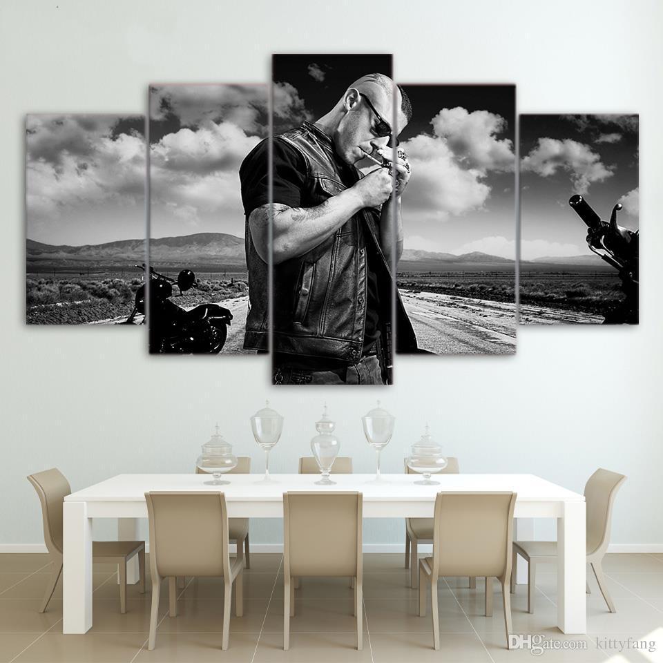 5 шт./Комплект обрамленный HD напечатали черно-белый рисунок плакат картина стены искусство комната декор холст современная живопись маслом видео