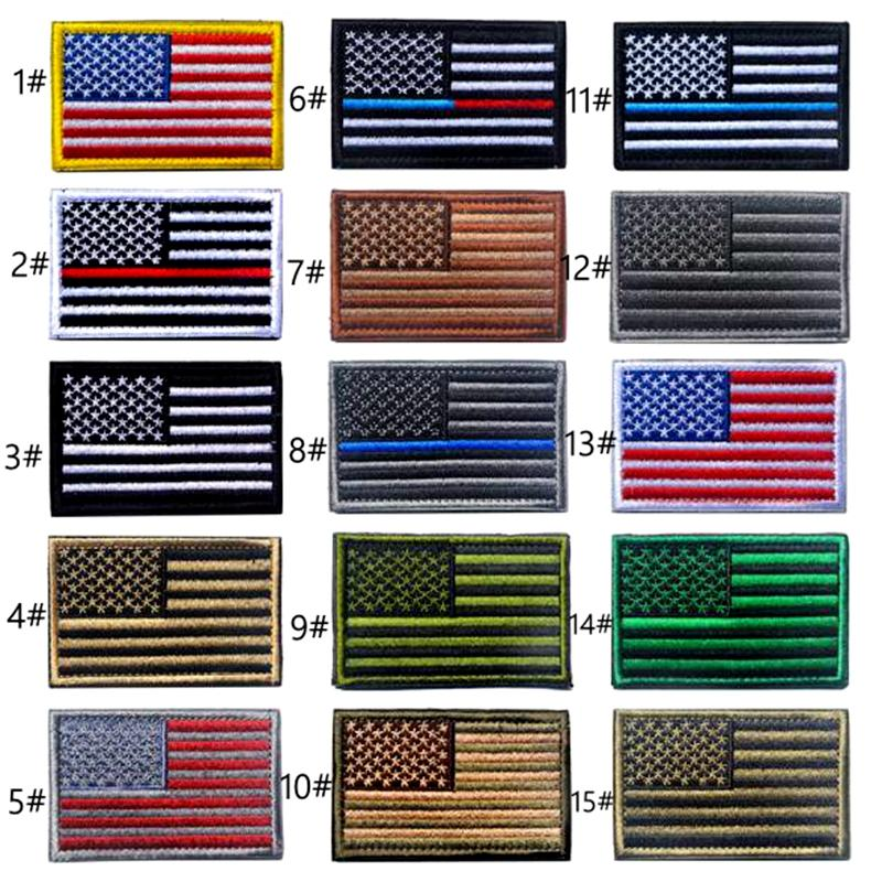 VIP Price US Flag Tactical military Patches Gold Border American flag Iron on patches Applique Jeans Fabric Sticker Patches for Hat badges
