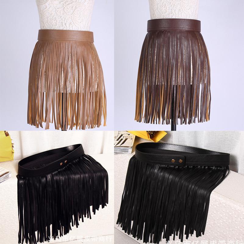 67c471efdfd5 Wholesale New Arrival Women Hippie Boho Fringe Tassel PU Faux Leather Belt  All Matching High Waist Lons Fringed Cummerbuns Skirt Pregnancy Belt  Lifting Belt ...