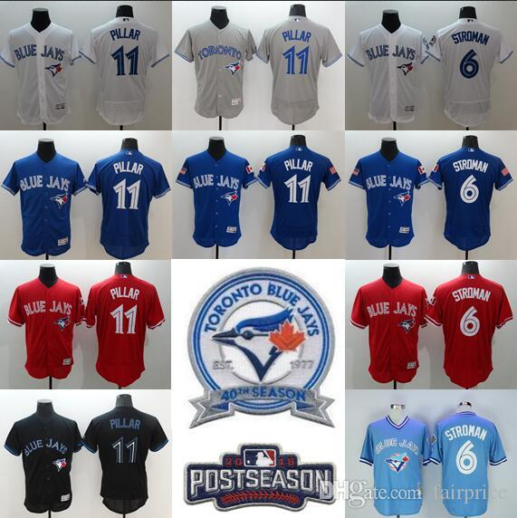 387e4ef9f37 ... 2017 40th Anniversary Patch Toronto Blue Jays MenS Baseball Jersey 11  Kevin Pillar 6 Marcus Stroman ...