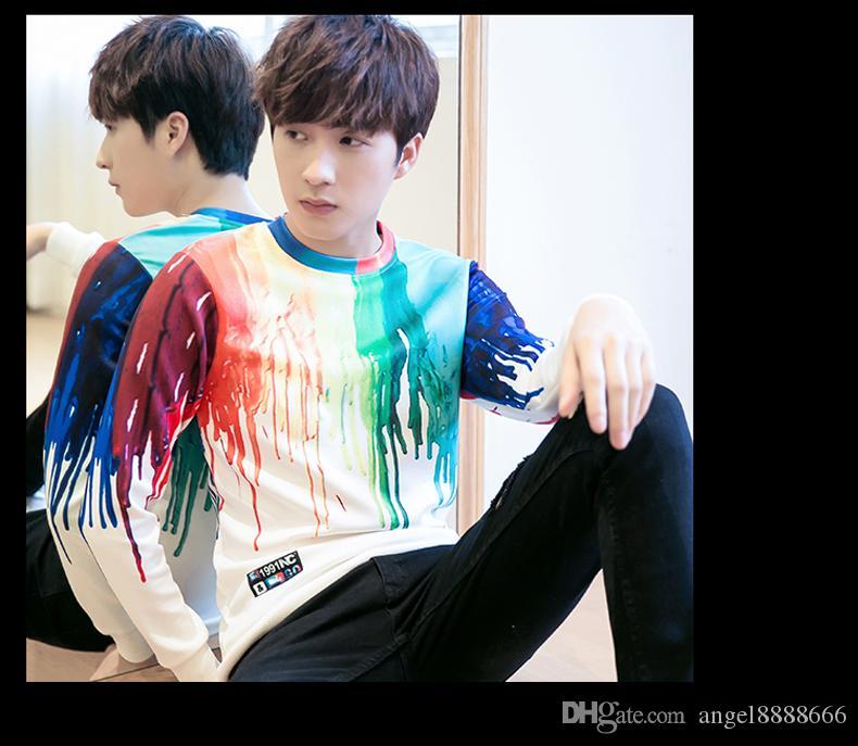 Корейский стиль мужской печати свитер футболка новая осень весна повседневная футболка прилив мода мужской толстовки кофты футболка тонкий одежда носит