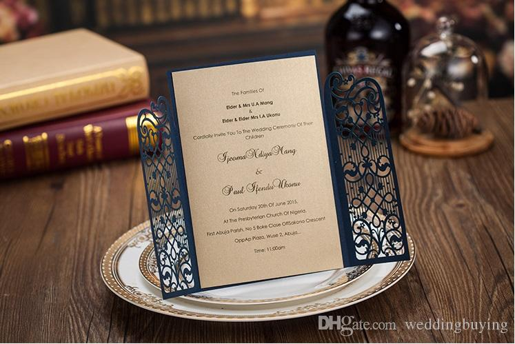 Cheap dark royal blue laser cut wedding invitations cards hollow personalized Engagement invitation card with envelope and inserts DHL free