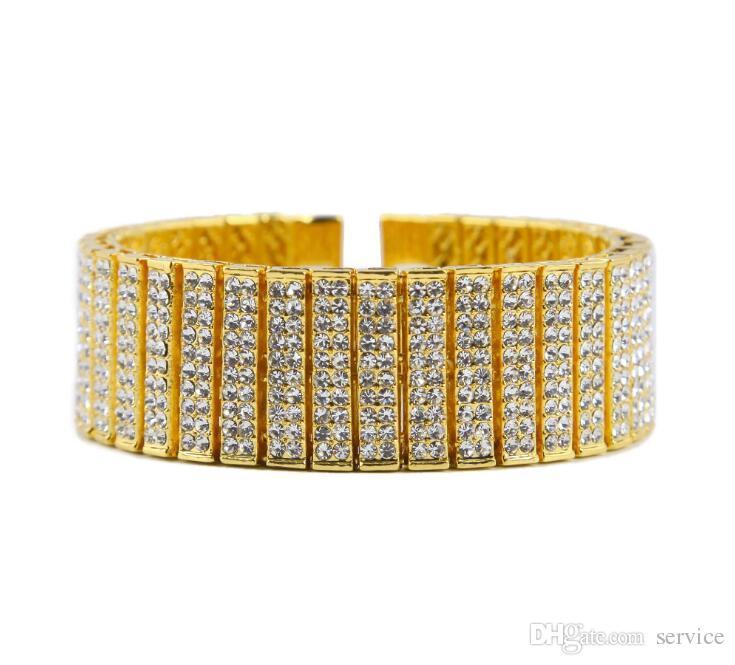 Pulsera de Hip Hop de los hombres Pulsera de cadena de aleación de zinc de oro plateado Pulsera de HipHop de tenis de diamante simulado para fiesta Gif 2017 Estilo de julio