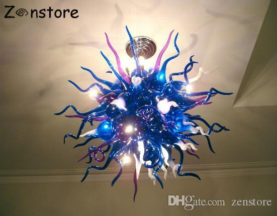 High Quality Hanging Round Balls Blue Color Modern Hand Blown Glass Crystal Chandelier LED Chandelier Light Fixture