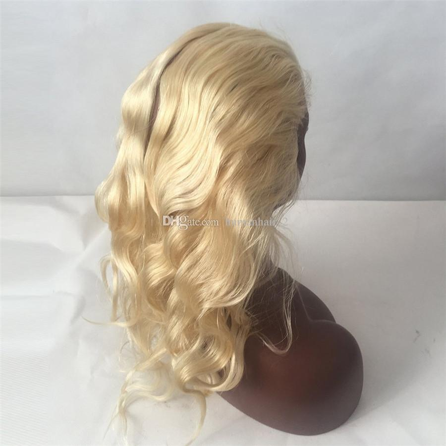 Blonde Human Hair Wig Bob Wigs #613 Platinum Blonde Malaysian Hair Full Lace Wig Body Wace Middle Free Side Part Bleached Knots
