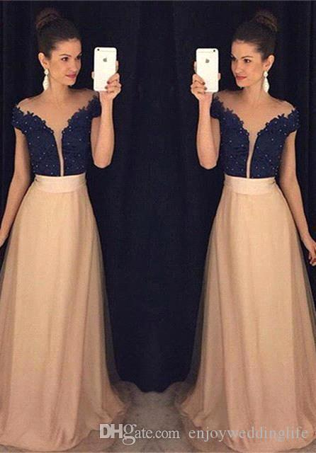 53056e4f026 2017 Off Shoulder Black Lace Top Prom Dresses Cap Sleeves A Line Champagne  Chiffon Long Evening Formal Gowns BA3666 Quiz Prom Dresses Red Prom Dresses  Uk ...