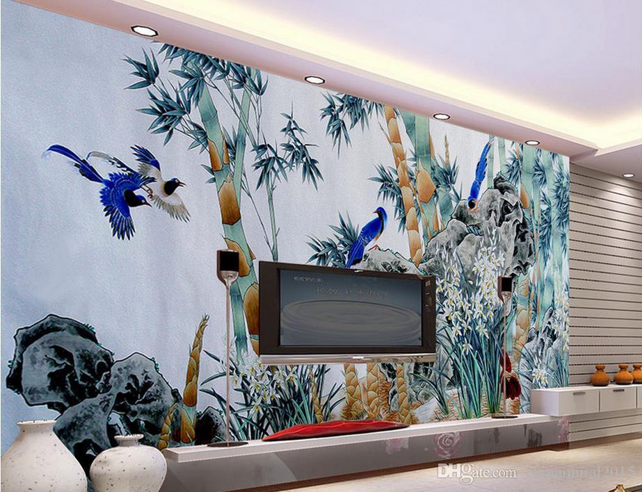 papiers peints décorateurs décoratifs peint à la main fleurs de bambou peinture à l'huile mur fond papier peint oiseaux fleurs