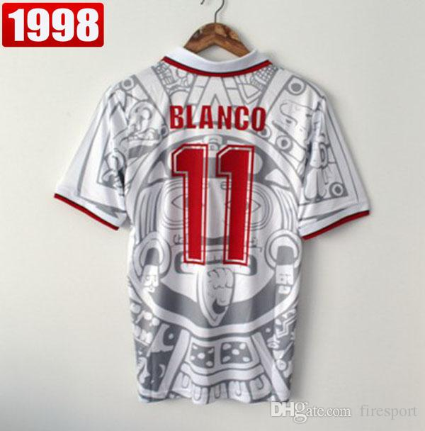 1998 MÉXICO RETRO VINTAGE BLANCO Tailandia Camisetas De Fútbol De ...