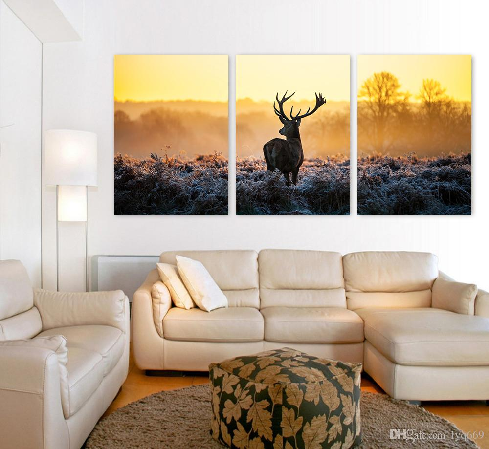 canvas art African sunset deer painting group children's room decor poster painting canvas art high quality video