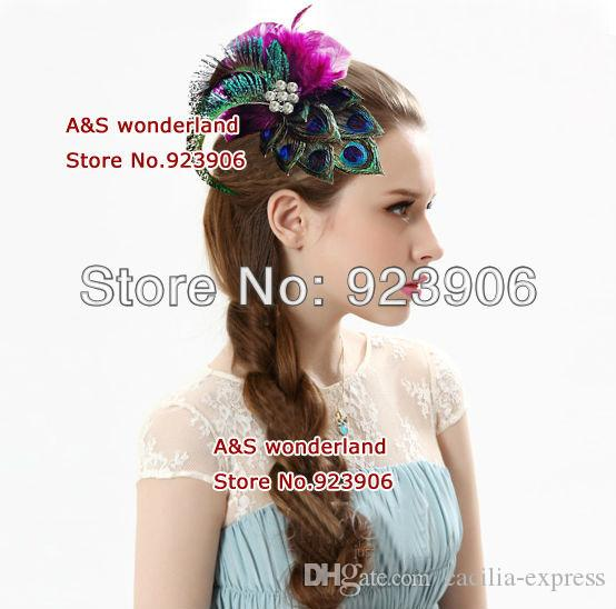 peacock feathers stunning hot pink peacock feather hair clip hair claw hairpiece Wedding Facinator Hair Accessories