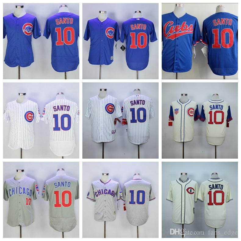 134b7a6e498 ... 2017 Cooperstown Vintage Mens 10 Ron Santo Jersey 1969 1988 Throwback  White Pinstripe Grey Blue Cool MLB Chicago Cubs ...