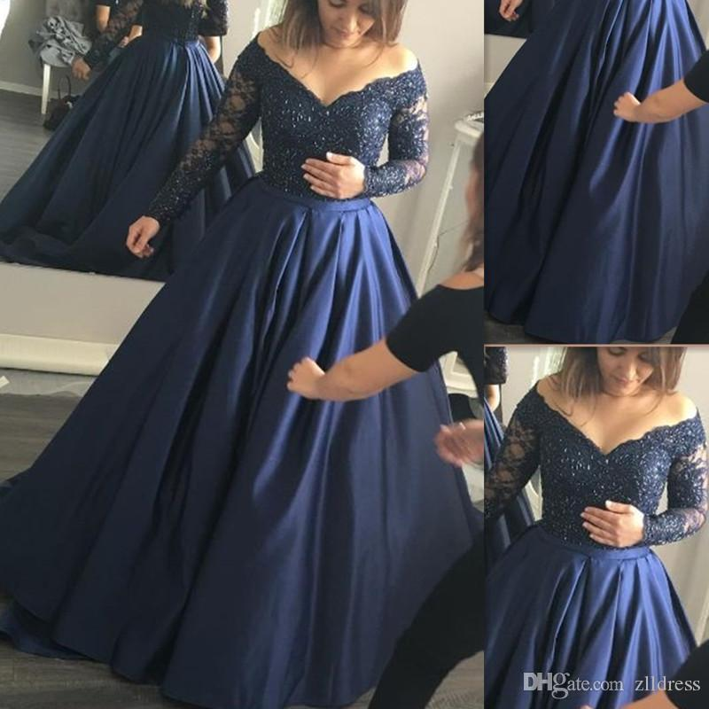 ebf98c1e529a 2017 Plus Size Prom Dresses Dark Navy Blue Satin Lace Off The Shoulder A  Line Long Sleeves Formal Evening Party Gowns Custom Made Evening Dresses  Summer ...