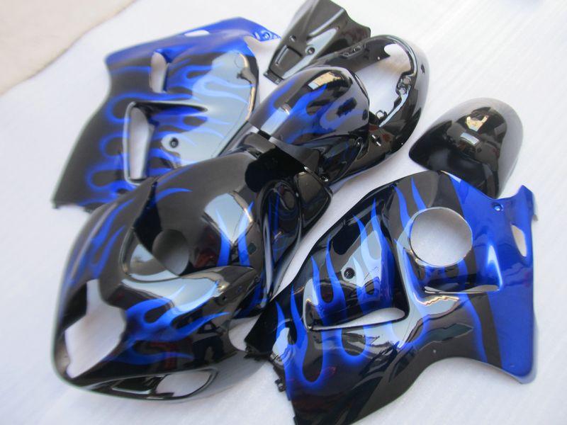 Kit carena moto di alta qualità Suzuki GSXR1300 96 97 98 99 00 01-fiammiferi blu fiamme nere GSXR1300 1996-2007 OT31