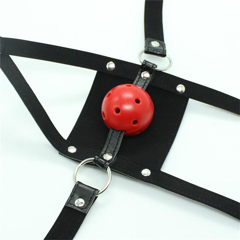 Snazzy Black Leather Mask Flail Ball Gag Head Harness Mouth Soft Breathable Solid Mouth Gag Bondage Belt Trainer Mask Red Sex Toys