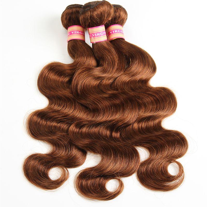 Capelli indiani brasiliani malesi dei vergini dei peli del corpo dell'onda del corpo dei capelli peruviani di colore naturale # 1 # 2 # 4 # 27 # 99j # 33 # 30 estensioni dei capelli umani