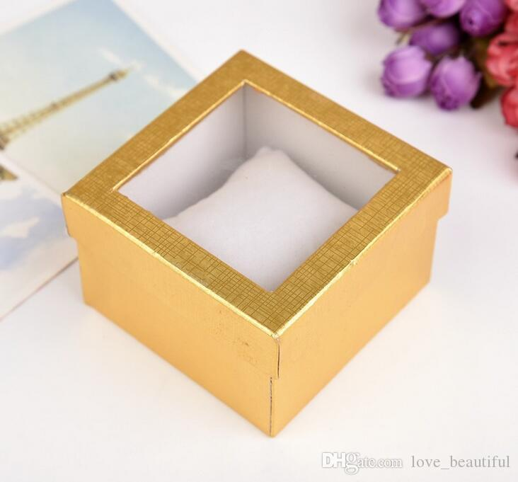 Jewelry Charm Bracelet Watch Gift Boxes Cases Display Box 9*9*5.5cm Quality pearlescent paper window Wrist Watch box With pillow