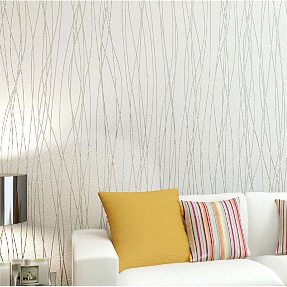 New Fashion Wallpapers Striped 3d European Living Room Wallpaper ...