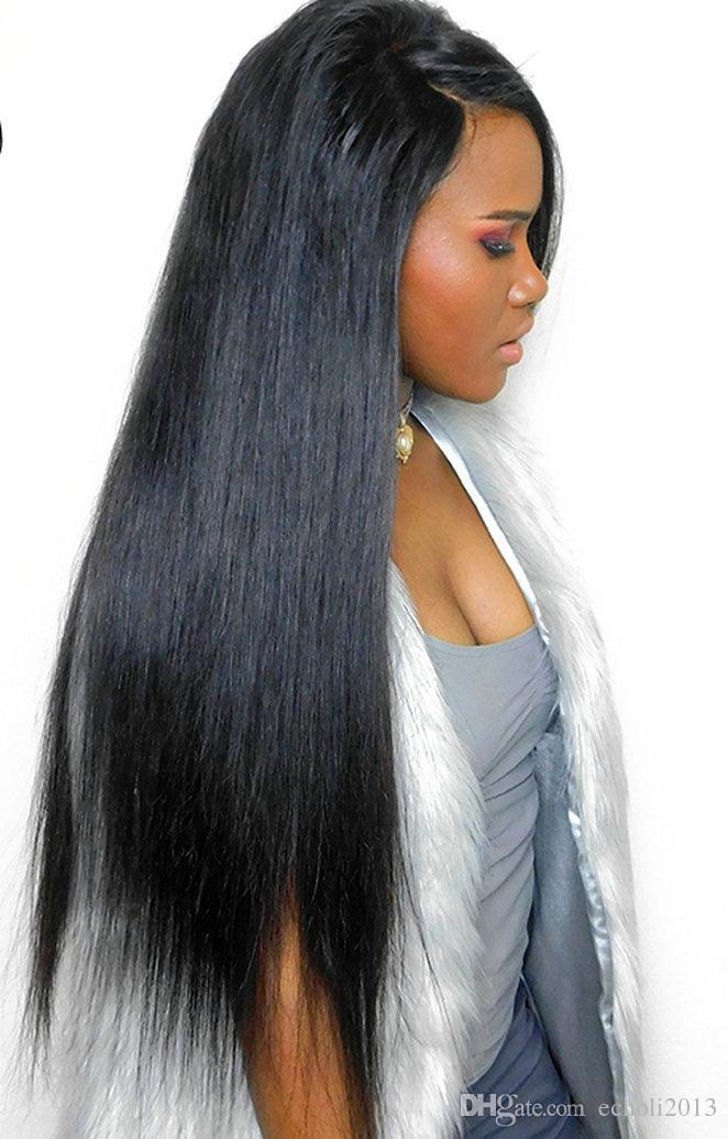 250% Yoğunluk Ipeksi Düz Dantel Ön İnsan Saç Peruk Brezilyalı Remy Saç Echo Ön Koparıp Ağartılmış Knot Peruk