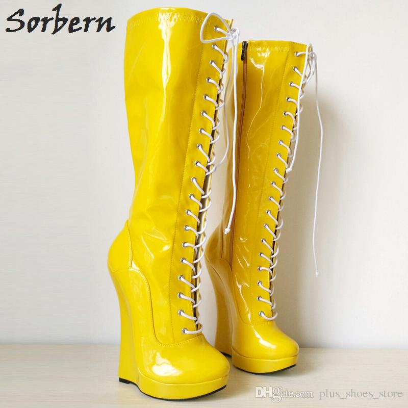 Sorbern Yellow Wedge Ballet Boots Lace Up 18cm Wedge Heel