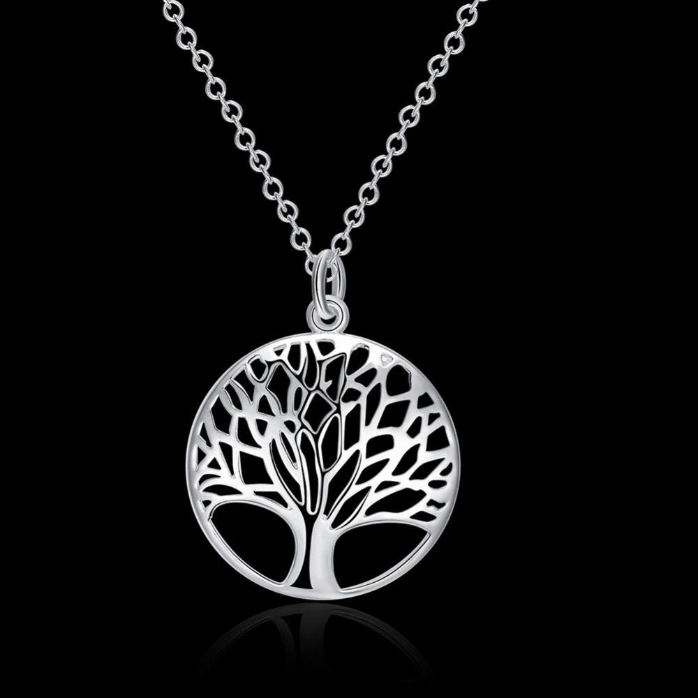 2017 Heiße Art und Weise 925 Art und Weise am meisten populäres heißes Silber überzog Baum des Leben-hängenden Halsketten-Großhandelspreises freies Verschiffen