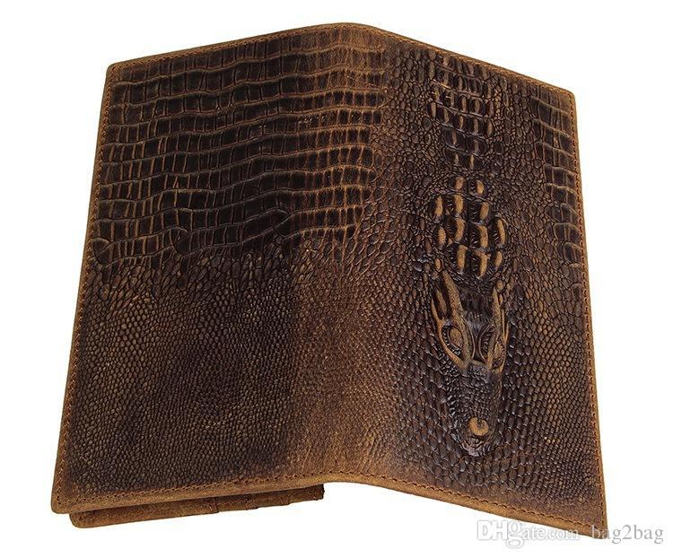 Genuine Leather Wallet Mens Wallets Crocodile Grain Long Wallet Men Purses for Card Holder Clutch Retro Wallet Crazy Horse Leather Wallets