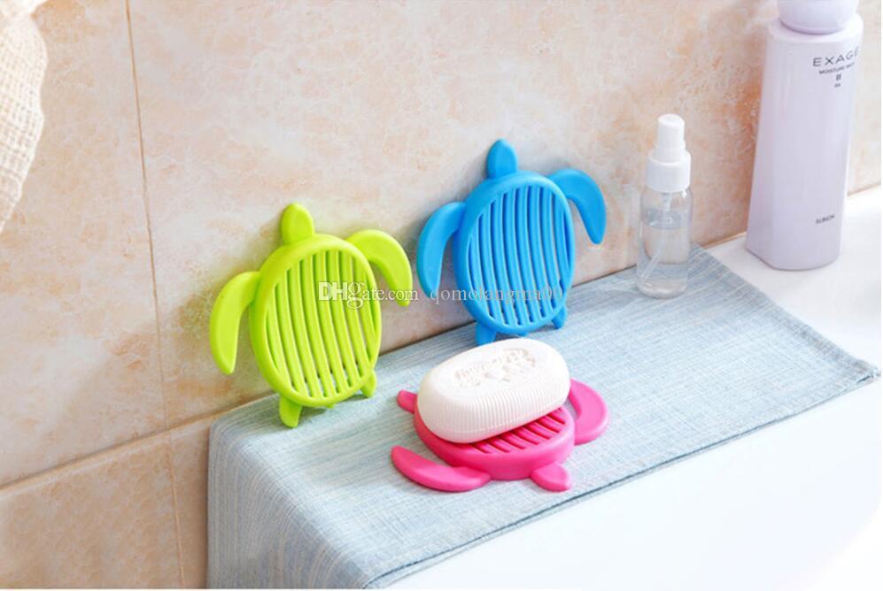 Şeker renk kaplumbağa şeklinde sabunluklar Yaratıcılık banyo sabunluk su drenaj sabunluk oymak
