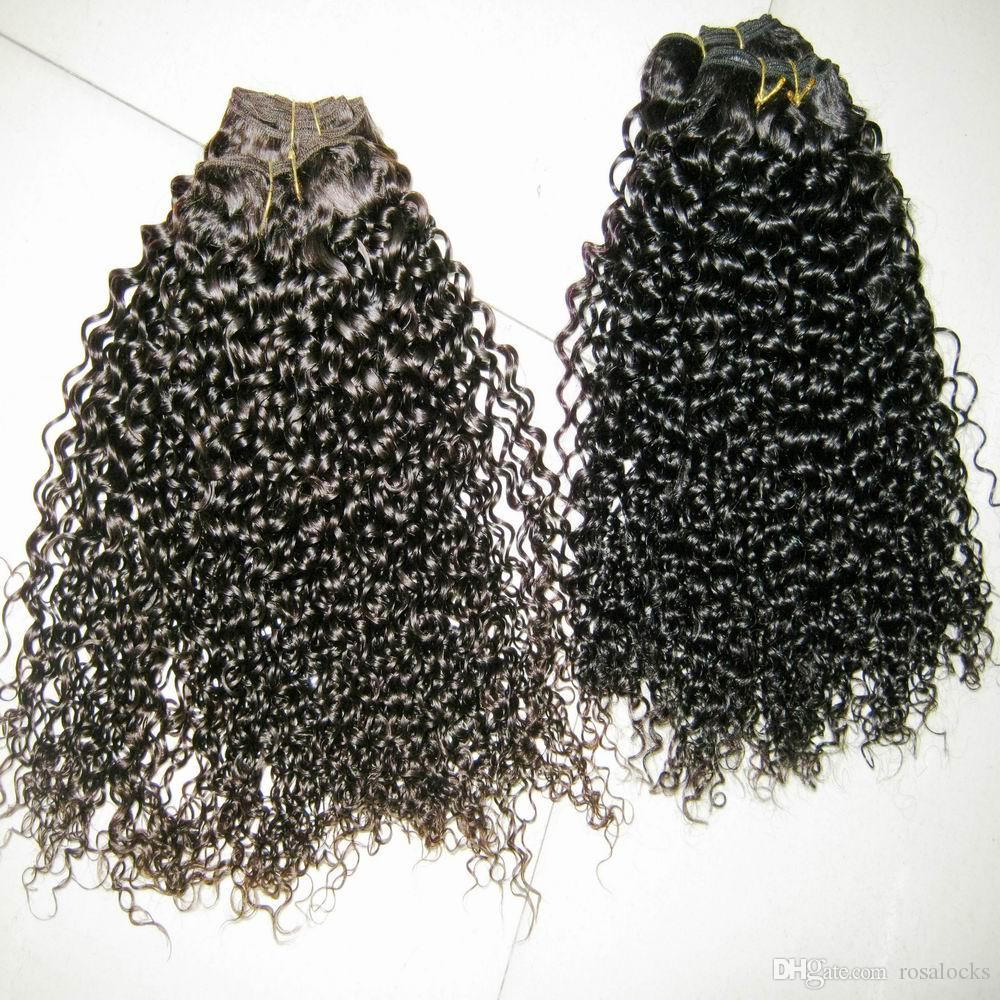 Sample Bouncy Kinky Curly IndianTemple Human Hair 200g Thick Bundles Wefts Fabulous African Curly Top 7A