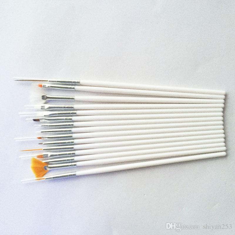 15 unids Set Nail Art Brush Paint Dot Draw Pen Brush para UV Gel Diy herramientas de Decoración