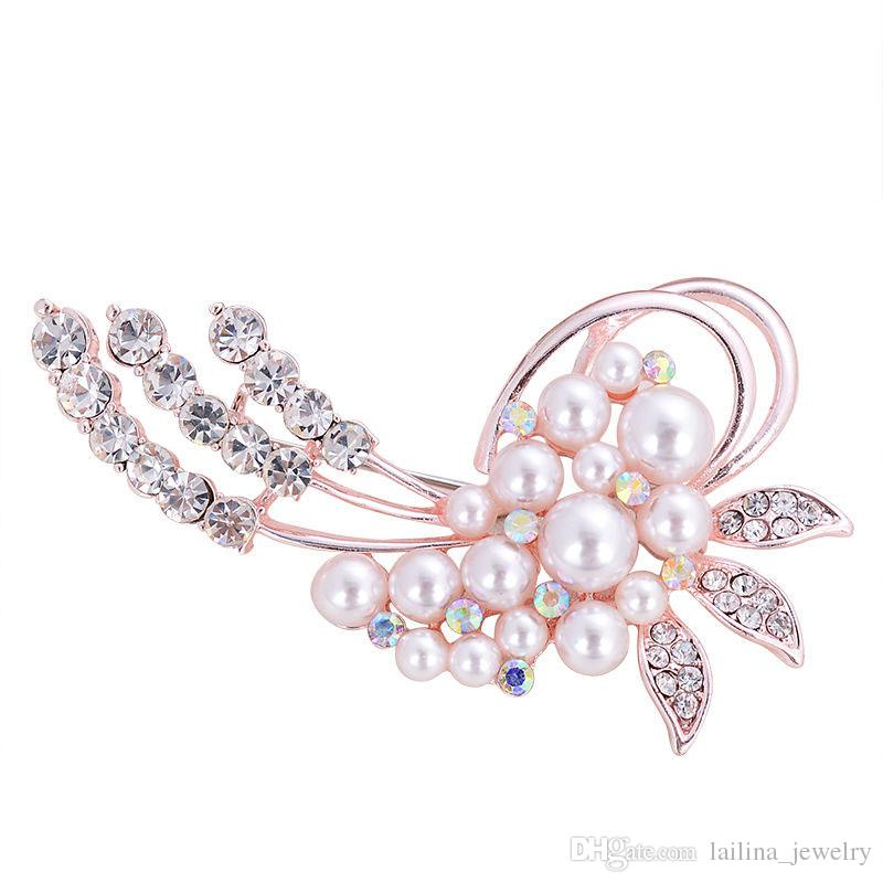 Gold Plated Pearl& Rhinestone Flower Brooch Pin Jewelry for Women/Rhinestone brooch Pin