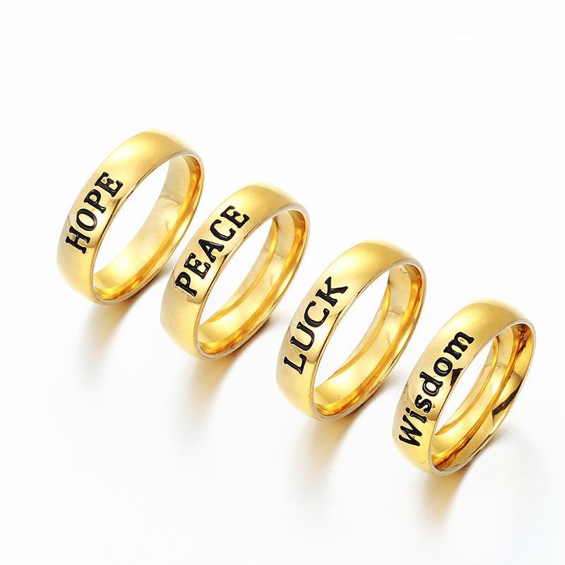 Emaille Englisch Brief HOFFNUNG FRIEDENS GLÜCK WISDOM Edelstahl Band Ring Gold Ring inspiriert Schmuck für Frauen Männer DROP SHIP 080236