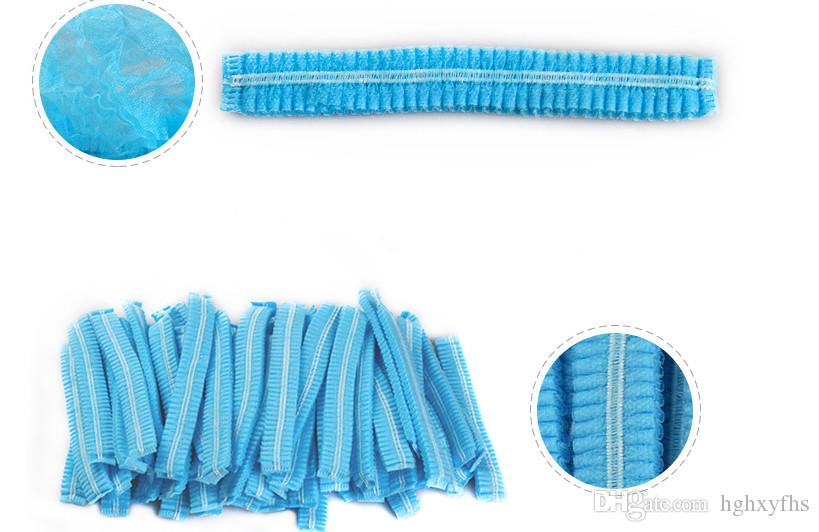 Disposable Hair Shower Cap Non Woven Pleated Anti Dust Hat Set Blue