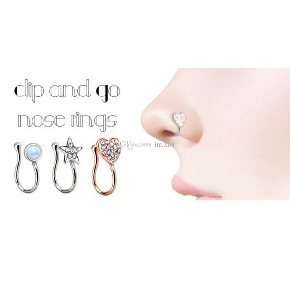 2019 Punk Crystal Nose Clip Goldsilver Plated Fake Nose Rings Round