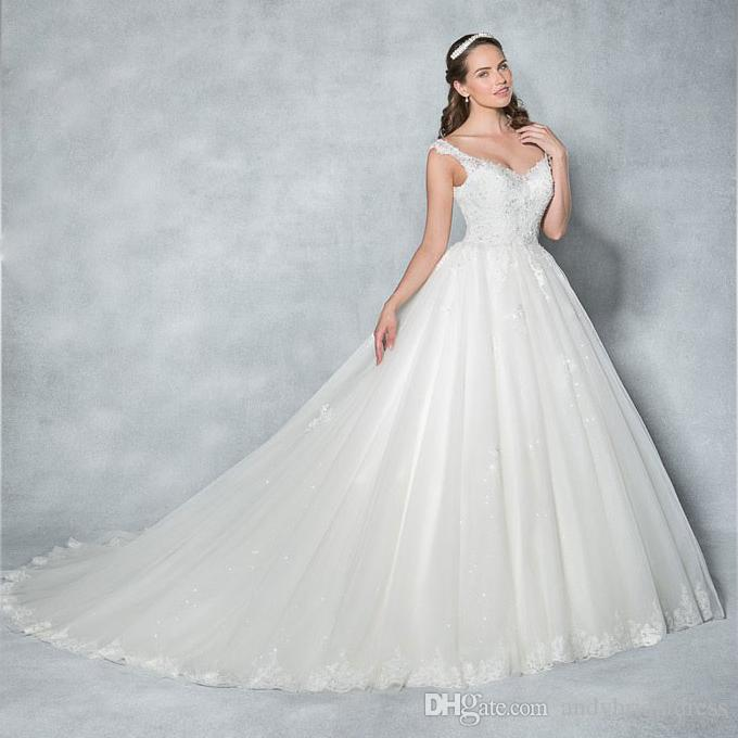 Off The Shoulder Sequined Lace Appliqued Ball Gown Wedding Dress ...