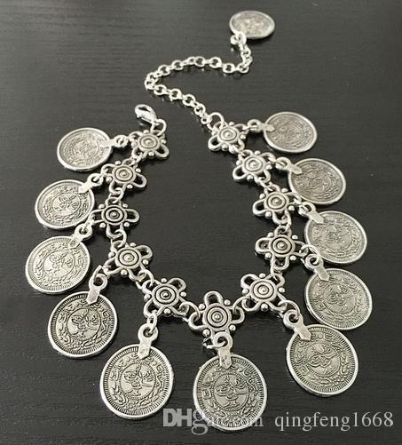 Европейские и американские ювелирные изделия ретро стиль металла кисточкой монета ножные браслеты