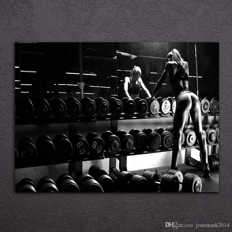 Framed HD Printed Bodybuilding Equipment Wall Art Canvas Pictures For Living Room Bedroom Home Decor Painting