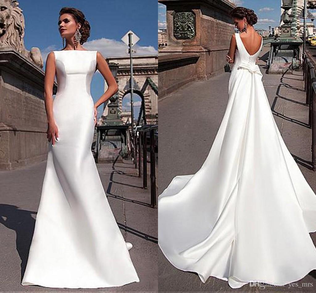 9a5447bec59 2017 Cheap Charming Bateau Neckline Mermaid Wedding Dresses With Detachable  Train Vestidos De Novia Backless Satin Plus Size Wedding Gowns The Wedding  Dress ...