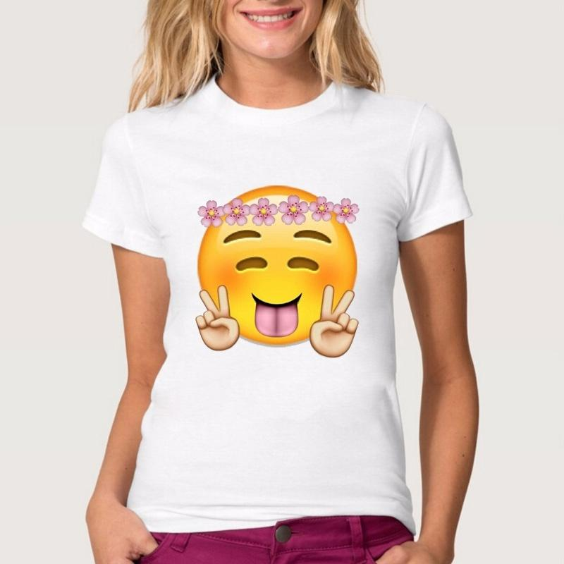 60679987f6e69 Women Lady Girl Cute Emoji Smile Print T Shirt Funny T Shirts Short Sleeve  Tee Shirt Tops Clothes Women S T Shirt Tee T Shirts Tees T Shirt From  Fashionbj