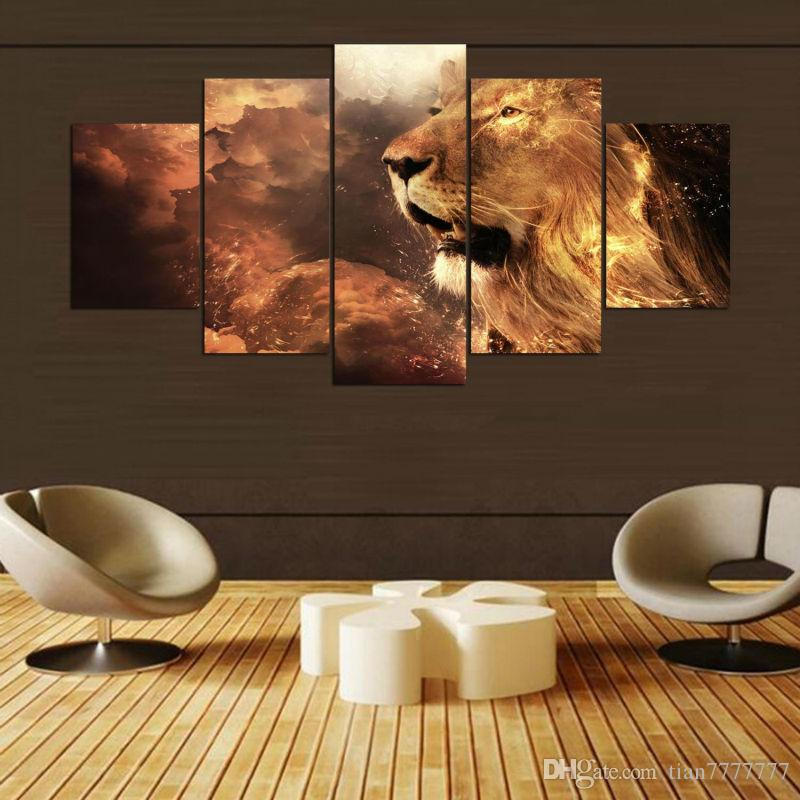 5 Panel No frame Large Lion Animal Canvas Painting High quality Print Art Modular Picture For Home decor Wall Poster