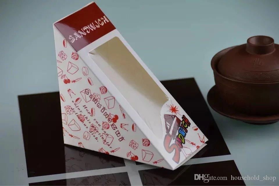 Scatola da pranzo panino Scatola da pranzo usa e getta Scatola da imballaggio Mousse Custodia Dessert Prendi fuori contenitori Carta 12x12x6.5cm Regalo da forno
