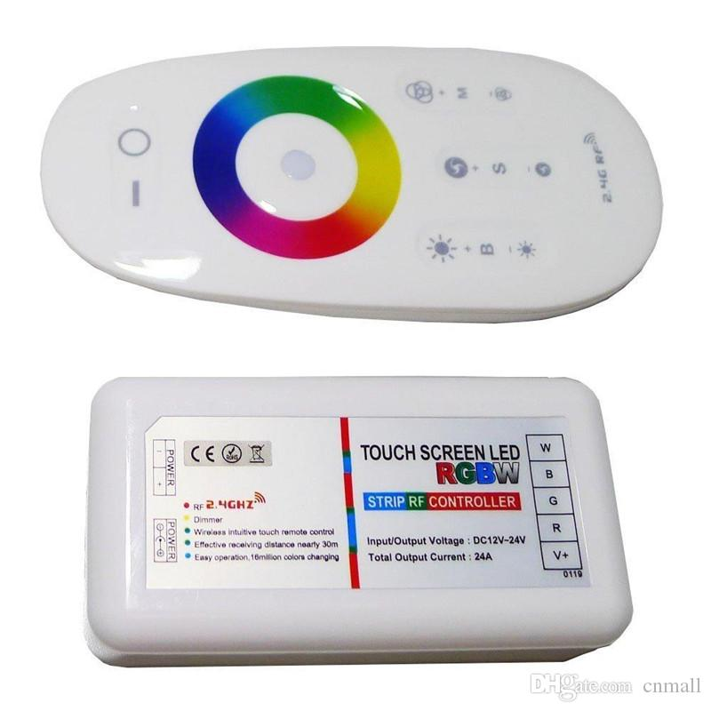 2.4G Inalámbrico RF RGB RGBW Controlador LED Pantalla táctil Control remoto DC12-24V 18A Para RGB LED Strip 5050 3528 Iluminación