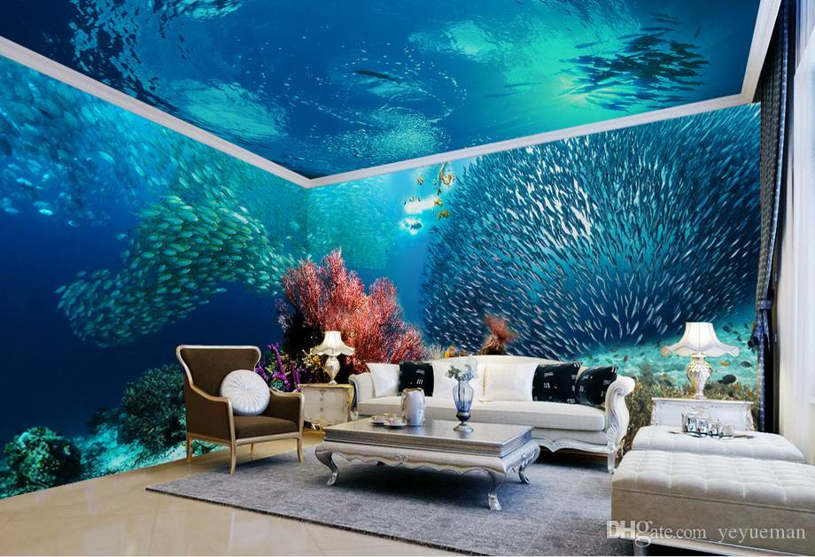 Customized 3d Ceiling European Ocean World Wallpaper For