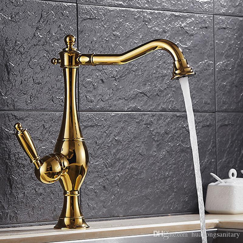 2017 Hot Sales! Antique Gold Bathroom Faucet With Single Hole Single ...
