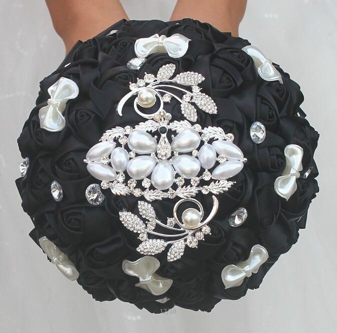 Jane Vini único negro con cuentas de diamantes ramo de la boda para novia dama de honor flores hechas a mano de raso cristal nupcial ramos