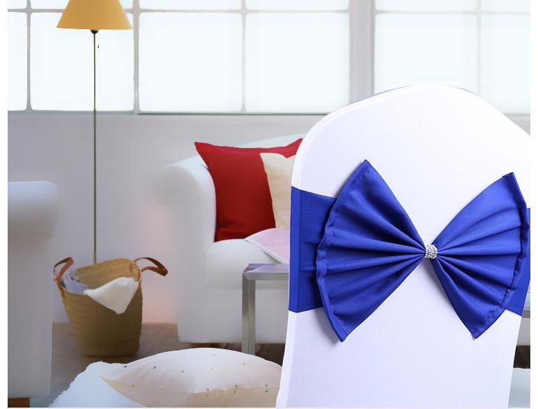 Fodere sedia da matrimonio fascia elastica fedi con fiocco di diamanti la decorazione della sedia banchetti di compleanno
