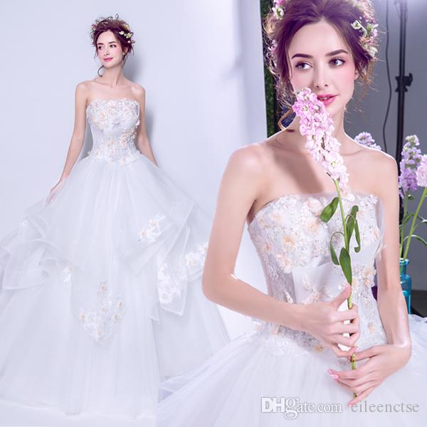 297d6a817c9 2017 Strapless Lace Weave High Quality Low Price Embroidered Three  Dimensional Gold Floral Ball Gown White Wedding Dresses Cheap Wedding  Dresses For Sale ...