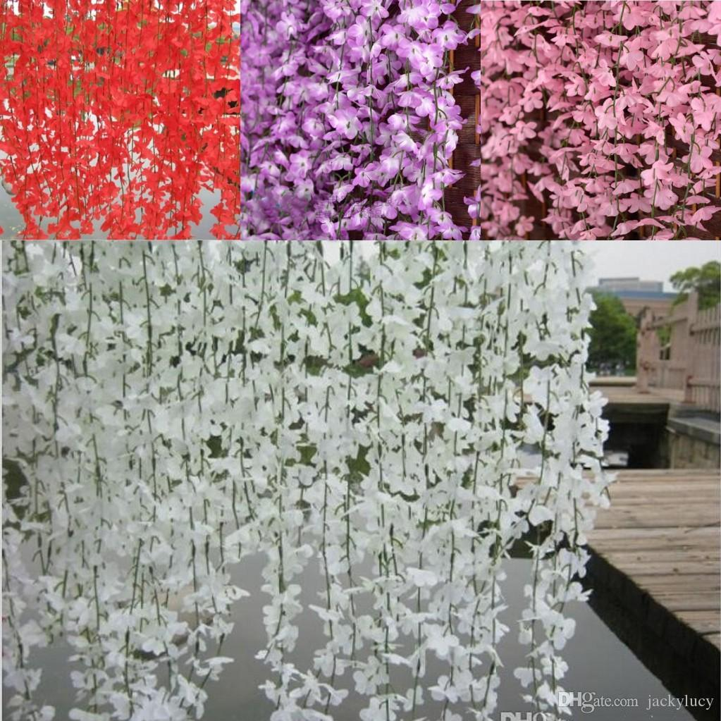 White red pink purple yellow artificial cherry blossom silk flower white red pink purple yellow artificial cherry blossom silk flower vine wall hanging wisteria for home and wedding decorations from jackylucys store mightylinksfo